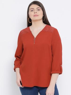 Rust Minora Zipper Plus Size Women Top