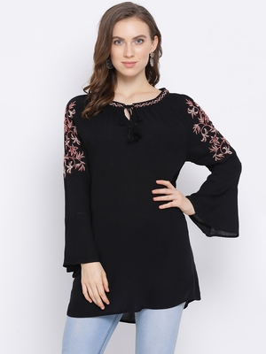 Black Wave Embroidered Women Top