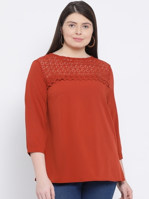 Rust Donna Dawn Stylized Plus Size Women Top