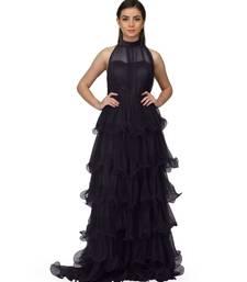 Women's Halter Neck Drape Net Party Evening Corset Gown in Black