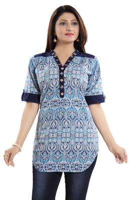 Navy-blue printed cotton short-kurtis