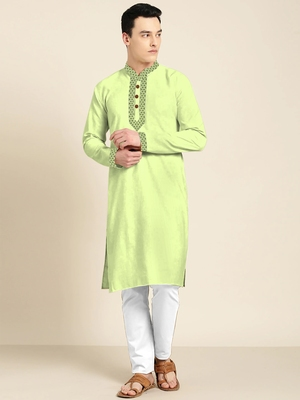 Green embroidered cotton silk men-kurtas