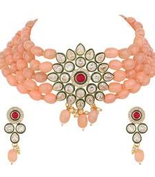 Peach gemstones necklace-sets