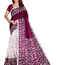 Purple printed art silk saree with blouse