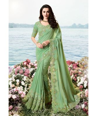 Sea Green Embroidered Crepe Silk Saree with Blouse