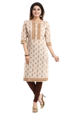 Off-white printed cotton long-kurtis
