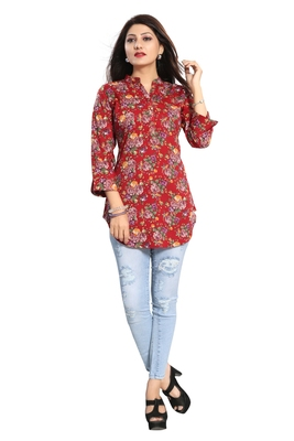 Red printed crepe short-kurtis