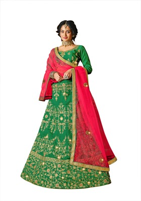 Green embroidered silk semi stitched lehenga
