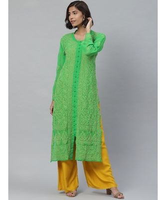 Ada Hand Embroidered Green Georgette Lucknowi Chikankari Kurti