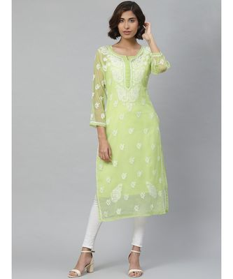 Ada Hand Embroidered Green Georgette Lucknowi Chikan Kurti With Slip