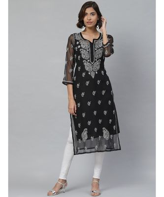 Ada Hand Embroidered Black Georgette Lucknowi Chikan Kurti With Slip