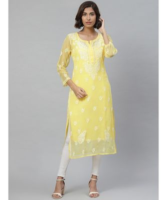 Ada Hand Embroidered Yellow Georgette Lucknowi Chikan Kurti With Slip