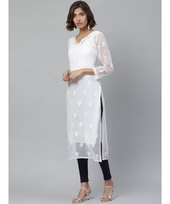 Ada Hand Embroidered White Georgette Lucknowi Chikan Kurti With Slip