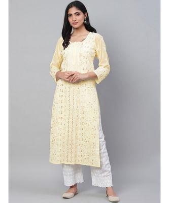 Ada Hand Embroidered Yellow Georgette Lucknow Chikankari Kurti With Slip