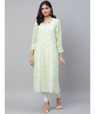 Ada Hand Embroidered Green Georgette Lucknowi Chikankari Kurti With Slip