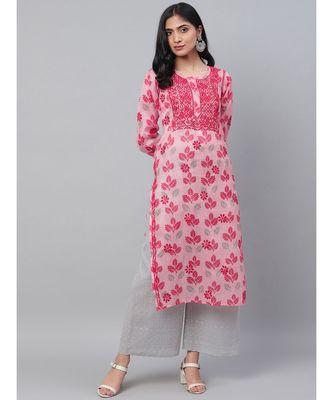 Ada Hand Embroidered Pink Kota Lucknowi Chikan Kurti
