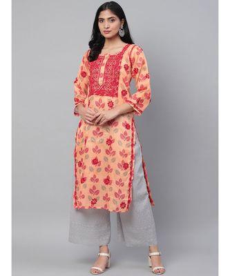 Ada Hand Embroidered Peach Kota Lucknow Chikan Kurti