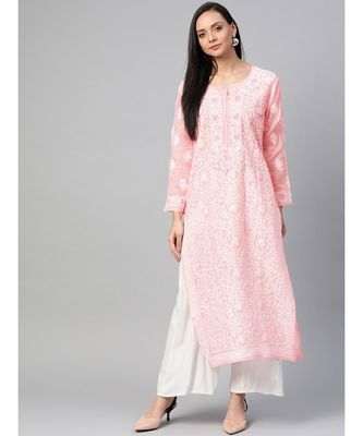 Ada Hand Embroidered Peach Cotton Lucknow Chikan Kurti