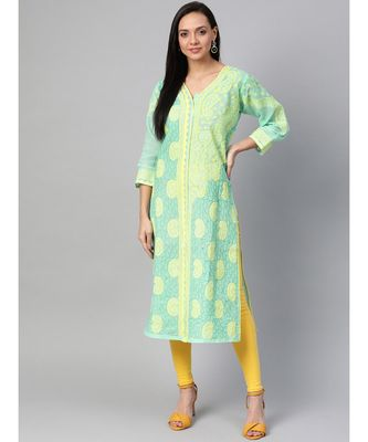 Ada Hand Embroidered Sea Green Cotton Lucknow Chikan Kurti