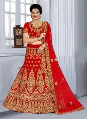 Red Zari embroidered velvet semi stitched bridal lehenga