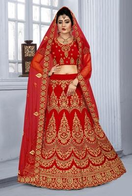 Red Zari embroidered velvet semi stitched lehenga