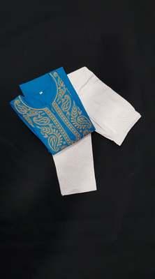 Royal-blue embroidered cotton chikankari-kurtis