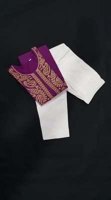 Purple embroidered cotton chikankari-kurtis