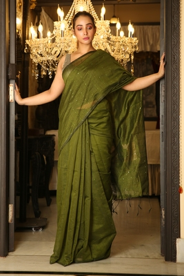 Green woven blended cotton saree with blouse