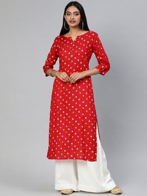 Red printed viscose cotton-kurtis