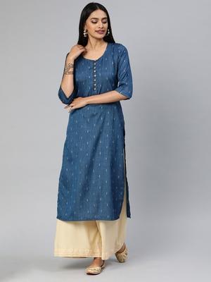 Blue printed cotton silk ethnic-kurtis