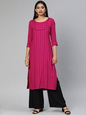 Pink woven viscose cotton-kurtis