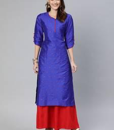 Blue woven art silk cotton-kurtis