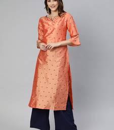 Peach woven art silk cotton-kurtis