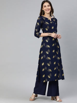 Navy-blue printed viscose ethnic-kurtis