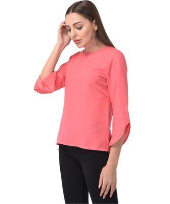Brijraj Pink Color Crepe Solid Casual Wear Top