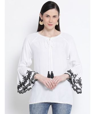 Pearl Peace Embroidered Women Top