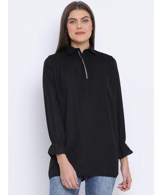 Black Shelly Zipper Women Tunic