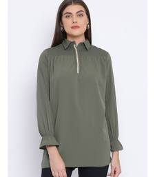 Khaki Lee Zipper Women Tunic
