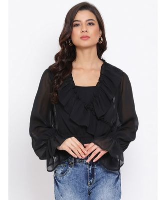 Black Frill Stylized Women Top