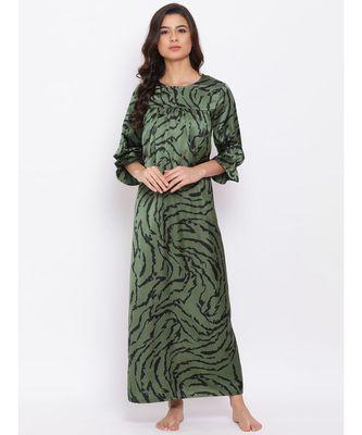 Green Wave Nightwear Women Dress