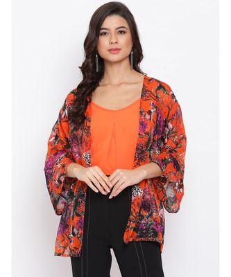 Floral Orange Print Women Shrug With cami
