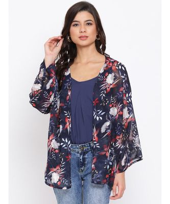 Floral Blue Print Women Shrug With Cami