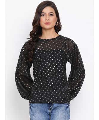 Polka Stylized Sleeve Women Top