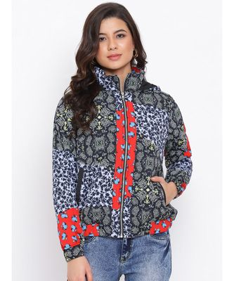 Graphic Multicolour Women Quilted Jacket