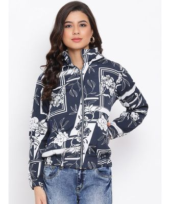 Blue Graphic Women Quilted Jacket