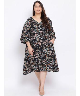 Black Floral Pin Maxi Plus Size Women Dress
