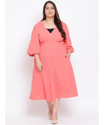 Pink Pin Maxi Plus Size Women Dress