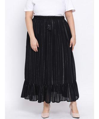Black Lurex Plus Size Women Skirt