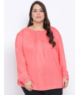 Pink Button Down Plus Size Women Top