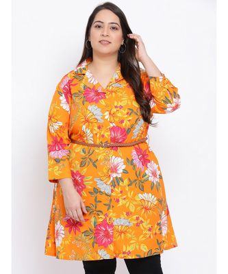 Orange Floral Den Plus Size Women Tunic